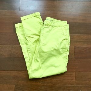 Bright yellow Gap straight leg khakis